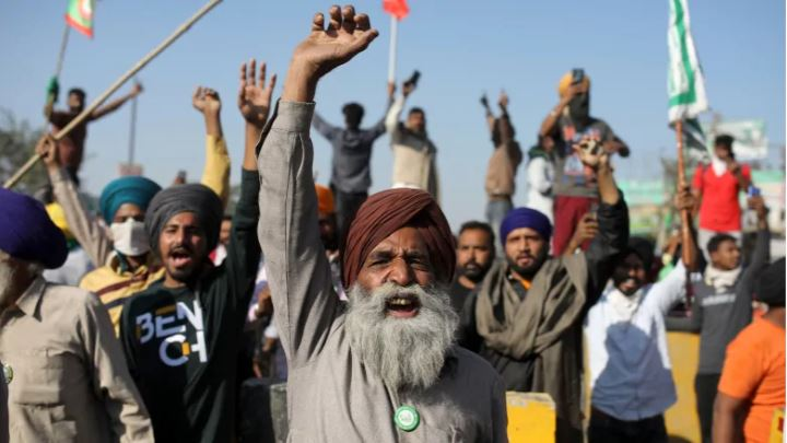 Mass protests by farmers in India